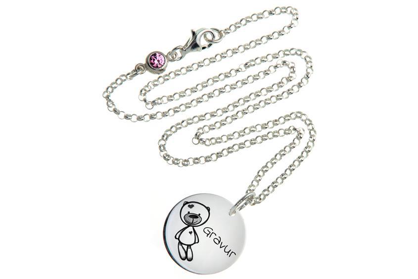 Kinder Kette mit Gravuranhänger Teddy ChainMAGPIE - 925 Silber ChainMAGPIE 925 Silber