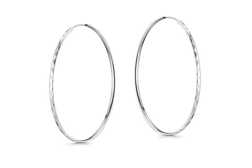Creolen mit Schliff, Durchmesser 60mm - 925 Silber