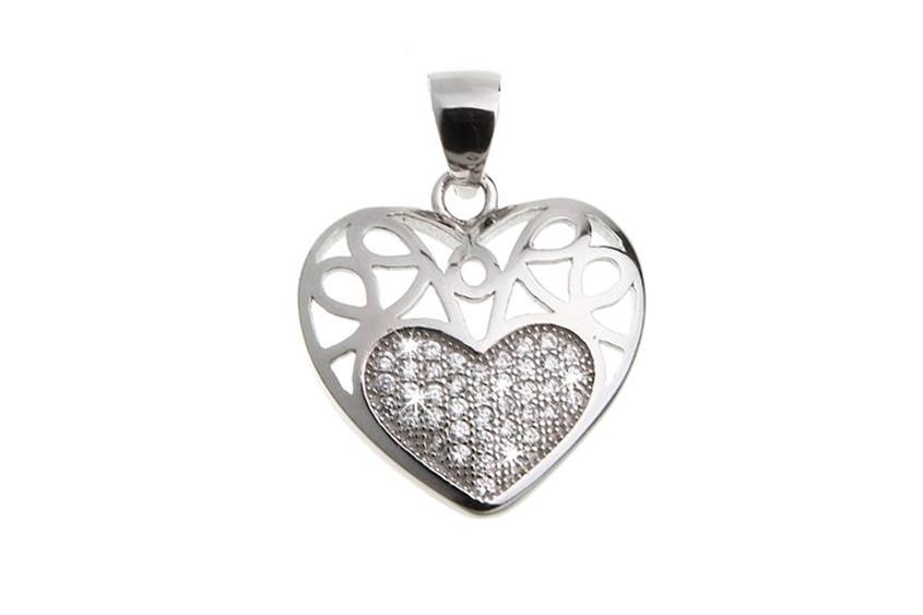 Anhänger Herz mit Zirkonia - 925 Silber DLD0249