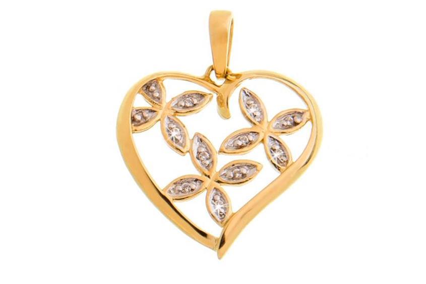 Anhänger Herz mit Blumen - 375 Gelbgold DSG_BNMX