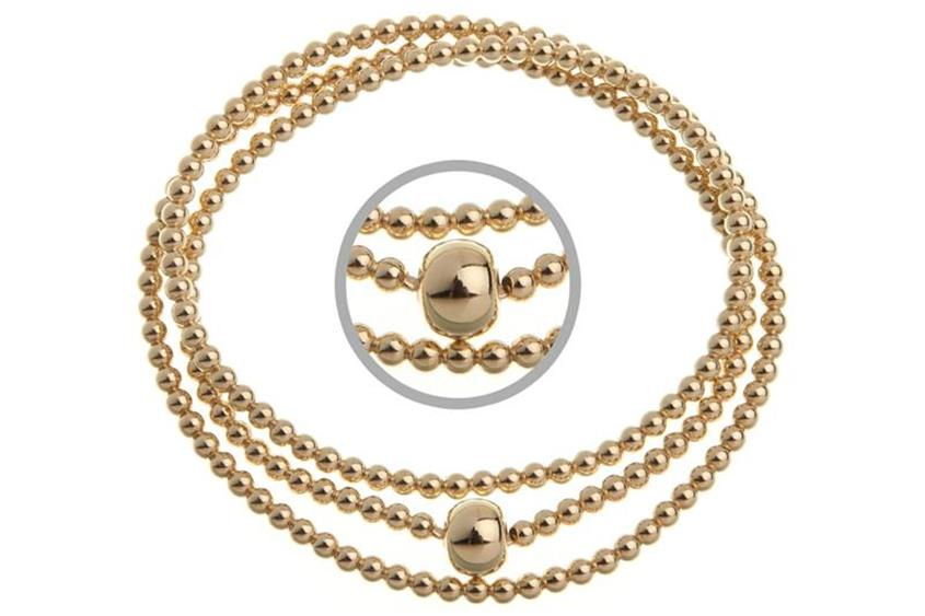 Elastic Elements Armband 3fach 925 Silber, vergoldet