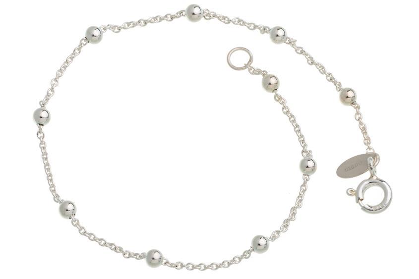 Erbskette Armband 1,3mm mit Kugeln - 925 Silber