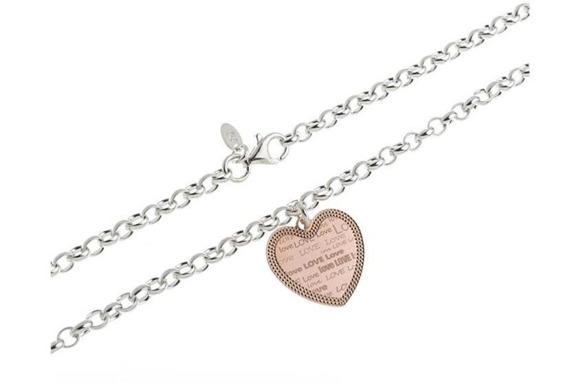 Erbskette 5,5mm mit Herz rosé - 925 Silber