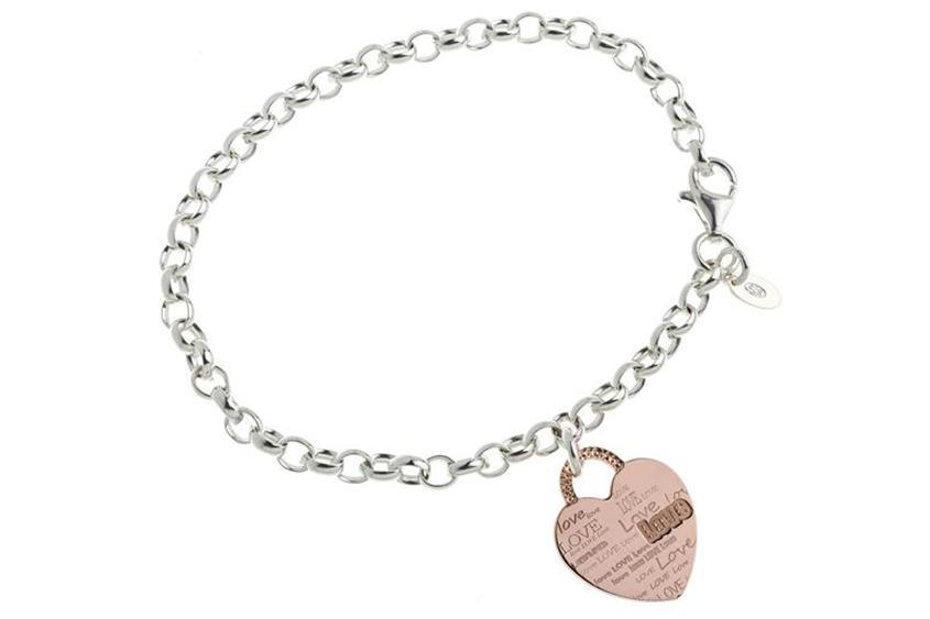 Erbskette Armband 5,5mm mit Herz rosé