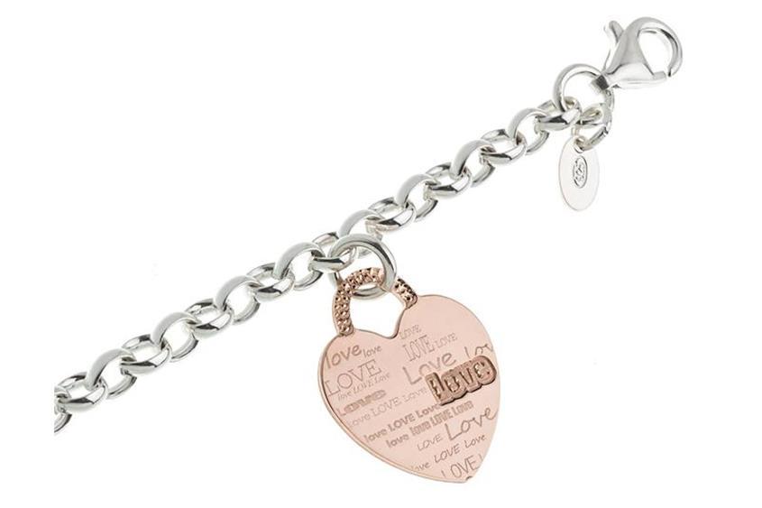 Erbskette Armband 5,5mm mit Herz rosé - 925 Silber