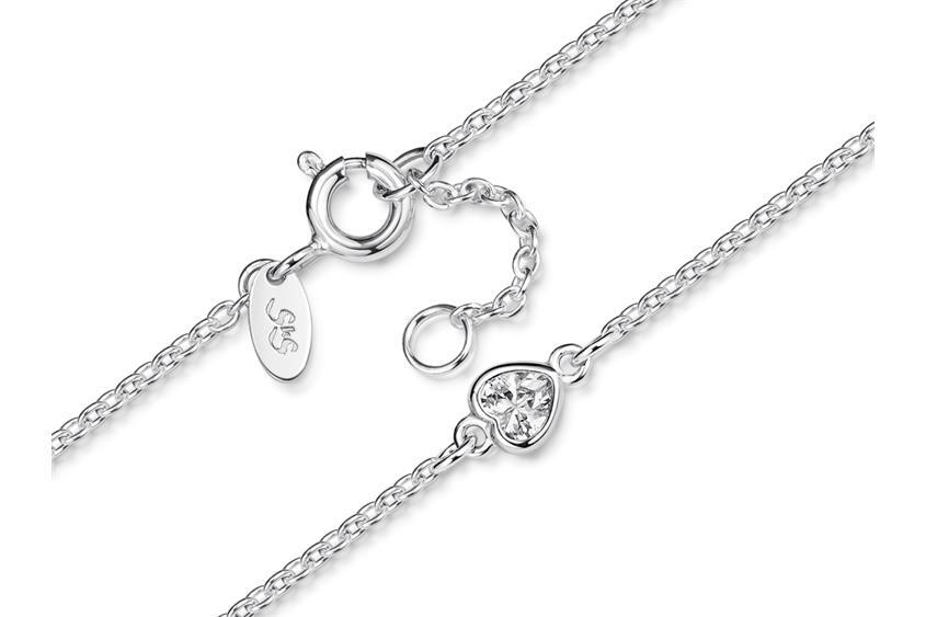 Fußkette Erbse 1,6 mit  Herz - 925 Silber