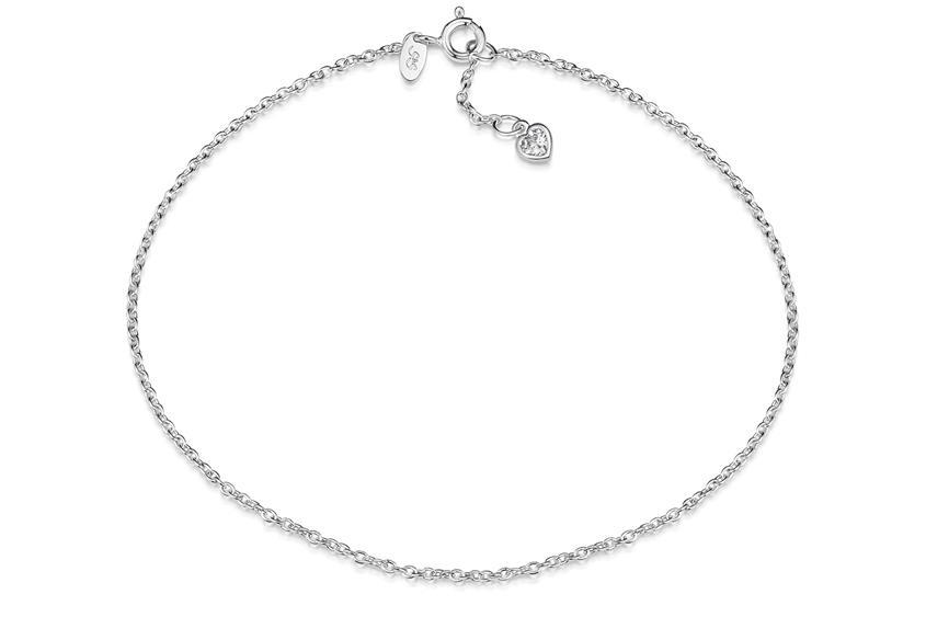 Fußkette Erbse 1,6 mit  Herzanhänger - 925 Silber