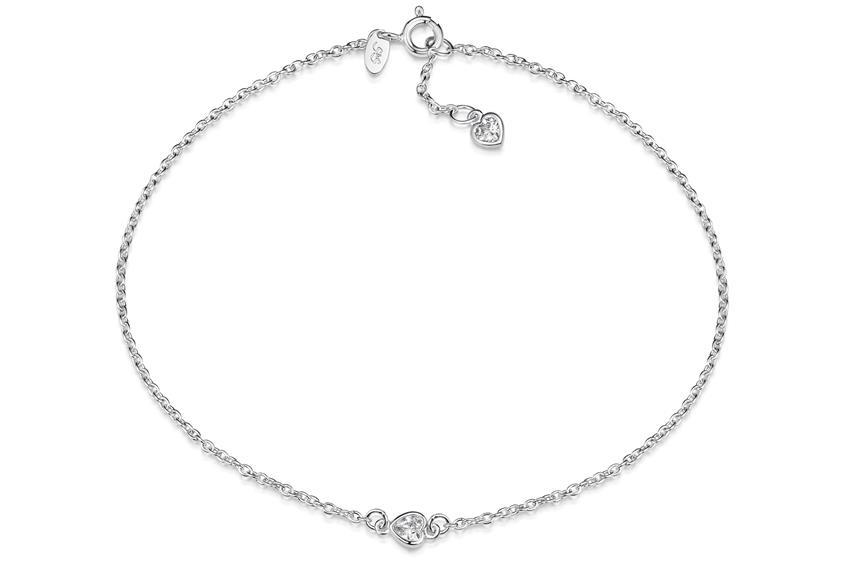 Fußkette Erbse 1,6 mit zwei Herzen - 925 Silber