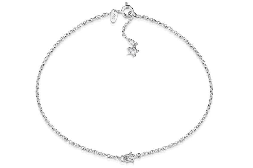 Fußkette Erbse 1,6 mit zwei Sternen -925 Silber