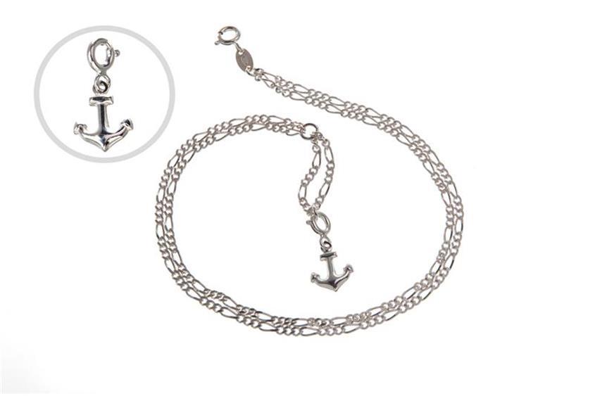 Fußkette Figaro 2-reihig  - 925 Silber wahlweise mit Anhänger