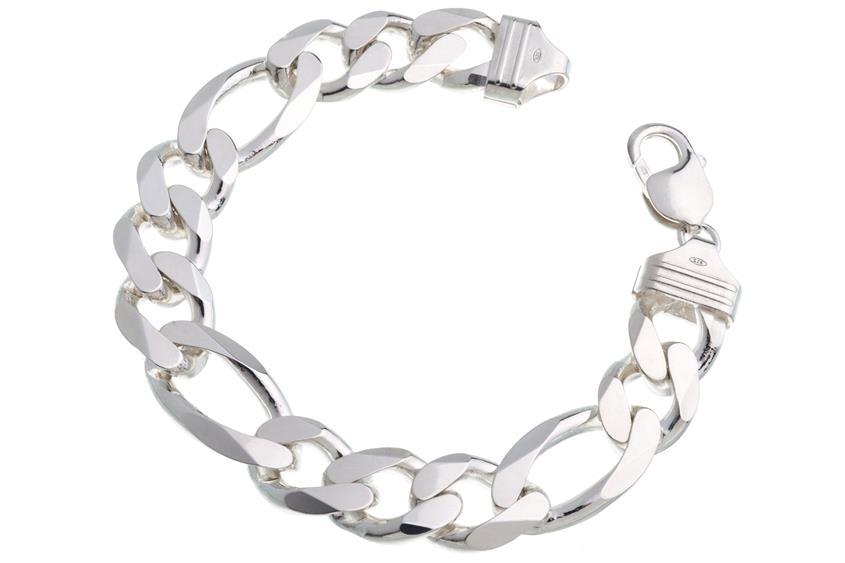 Figarokette Armband 13mm - 925 Silber