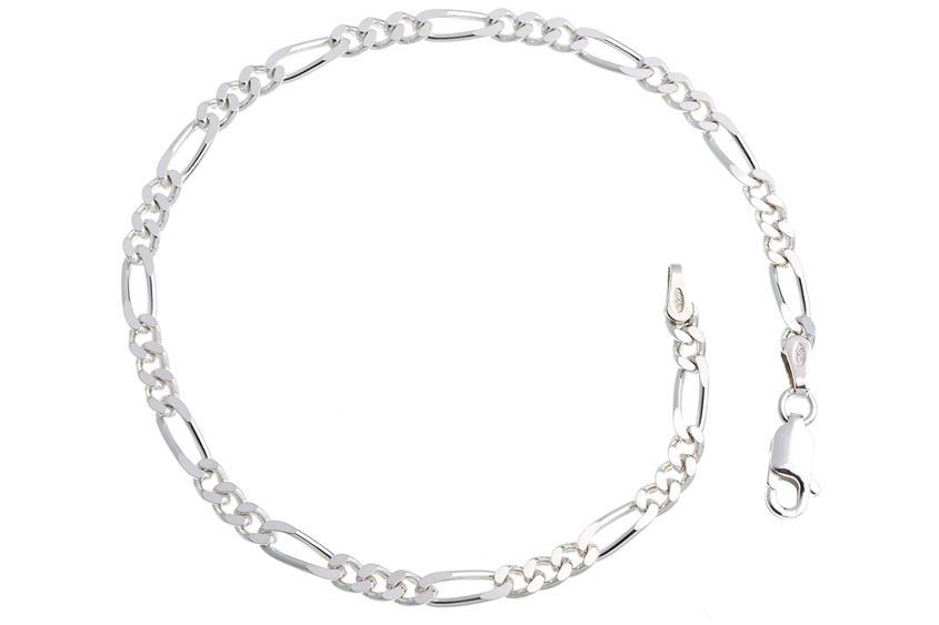 Figarokette Armband 3,4mm - 925 Silber