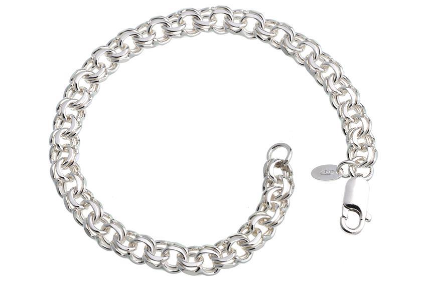 Garibaldikette Armband 7mm - 925 Silber