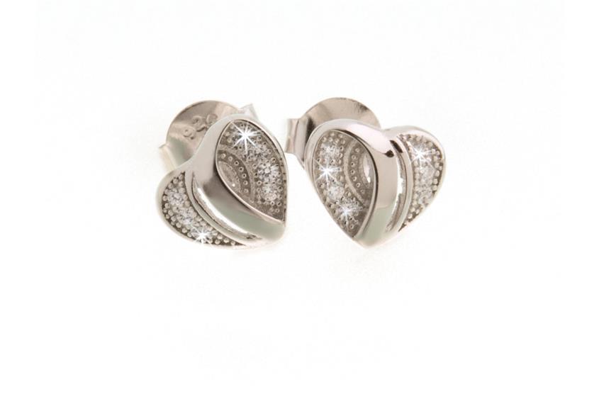Ohrstecker Herz mit Zirkonia - 925 Silber GWK0005