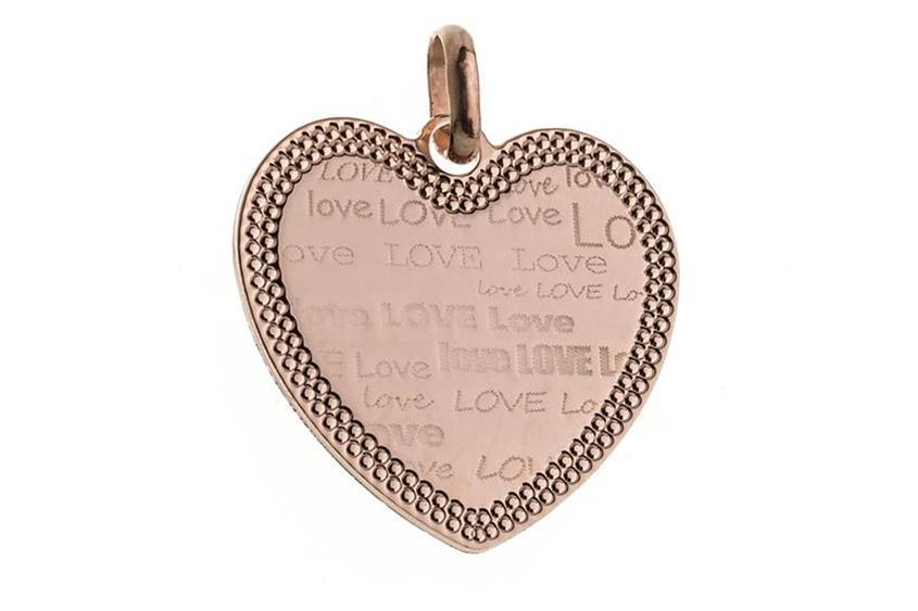 "Anhänger Herz ""Love"" groß - rosé vergoldet"