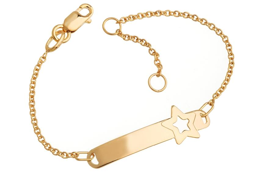 Kinder-ID-Armband Star - 375 Gelbgold