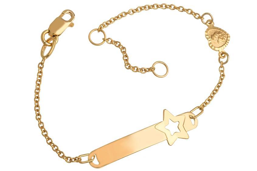 Kinder-ID-Armband Star Engel II - 375 Gelbgold