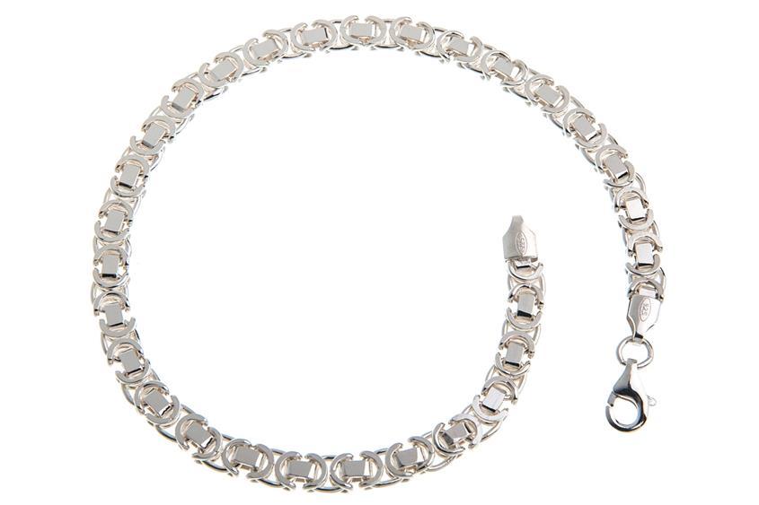 Königskette Armband, flach 4,6mm - 925 Silber