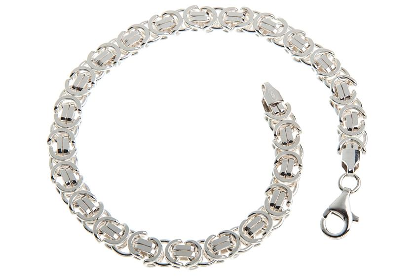 Königskette Armband, flach 6mm - 925 Silber