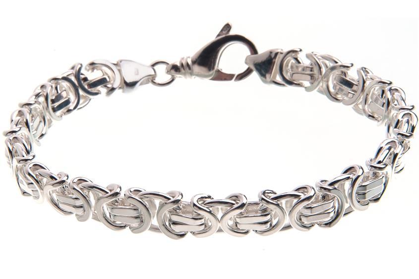 Königskette Armband, flach 9mm - 925 Silber