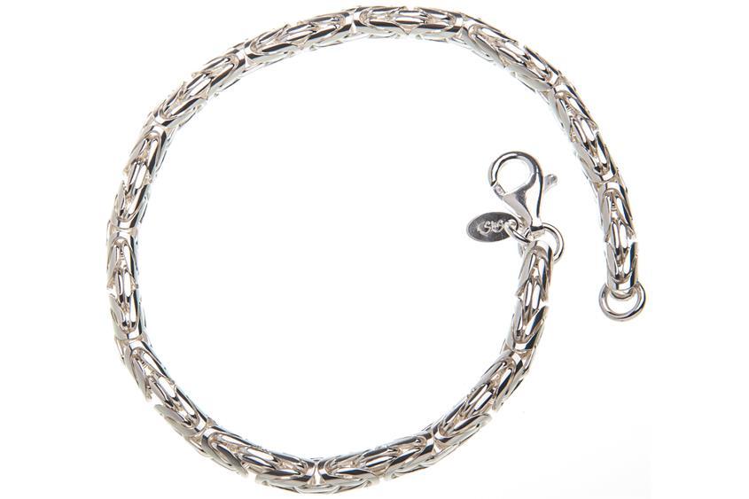 Königskette Armband, rund 4mm - 925 Silber