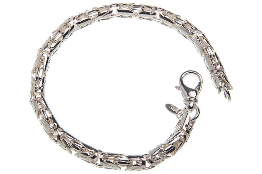 Königskette Armband, rund 6mm - 925 Silber