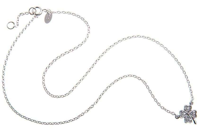 Kette mit Anhänger Kleeblatt mit Zirkonia - 925 Silber 925 Silber
