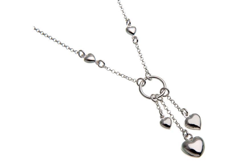 Kette mit Anhänger Ring mit 3 Herzen -  925 Silber