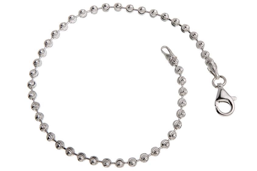 Kugelkette Armband, geschliffen 3mm - 925 Silber