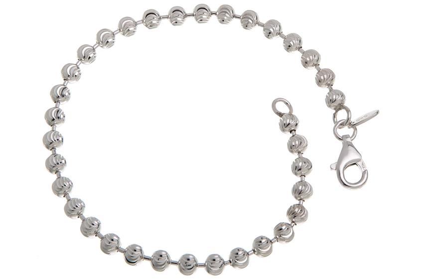 Kugelkette Armband, geschliffen 4mm - 925 Silber