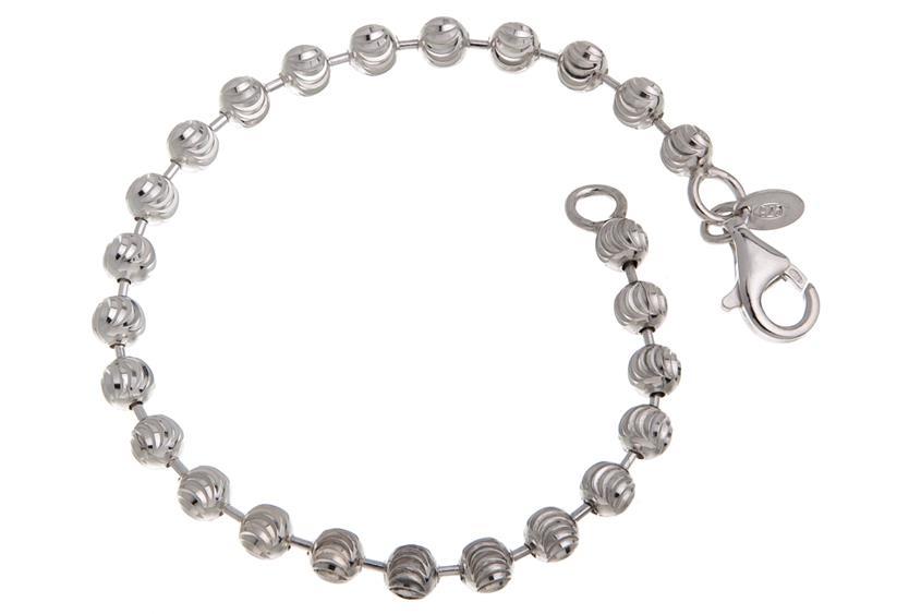 Kugelkette Armband, geschliffen 5mm - 925 Silber