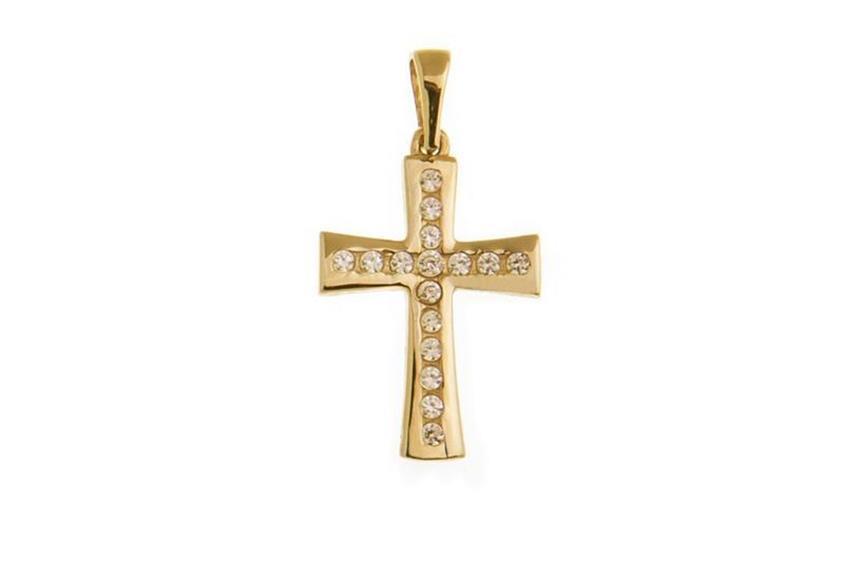 Anhänger Kreuz mit Zirkonia - 375 Gelbgold LS1324