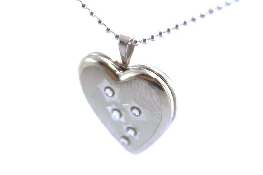Anhänger Medaillon Herz mit Zirkonia 925 Silber
