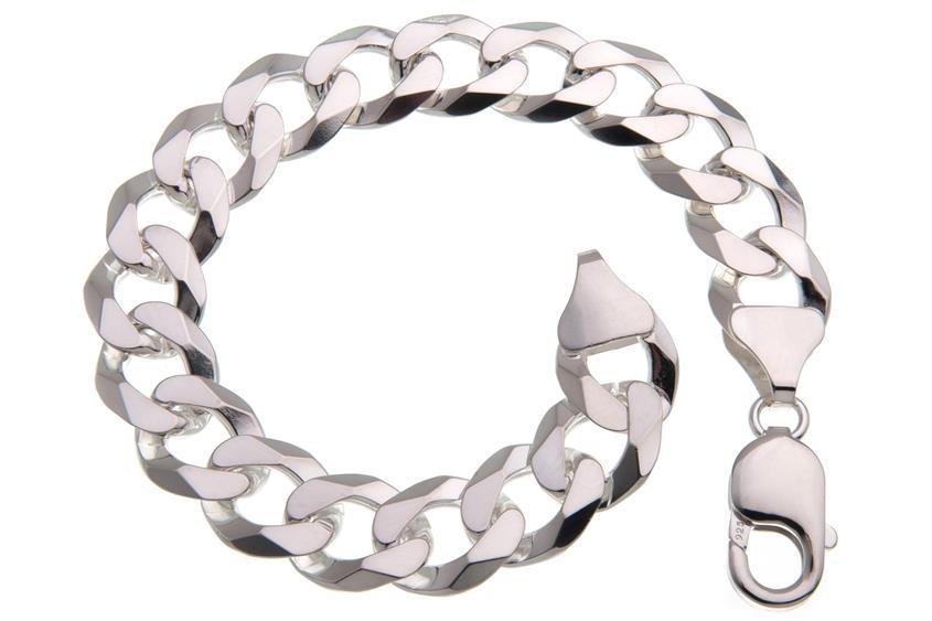Panzerkette Armband 12mm - 925 Silber