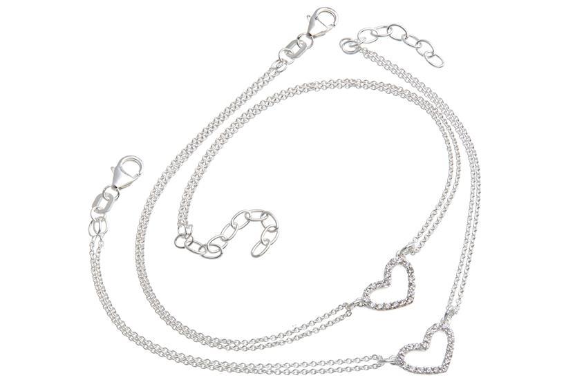 Schmuckset Armband und Fusskette Herz 2reihig - 925 Silber 925 Silber