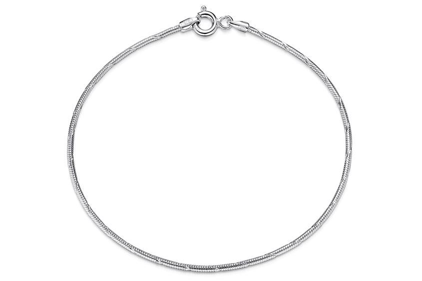 Schlangenkette Armband, geprägt 1,4mm - 925 Silber