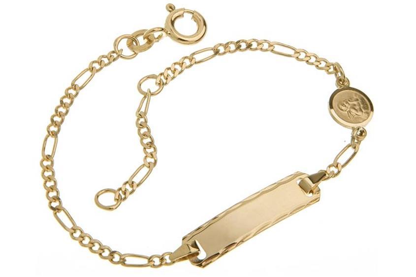 Kinder-Gravurarmband Figaro 2mm mit Schutzengelanhänger- 333 Gold - 333 Gold
