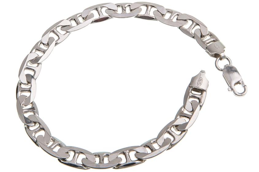 Stegpanzerkette Armband 7,5mm - 925 Silber