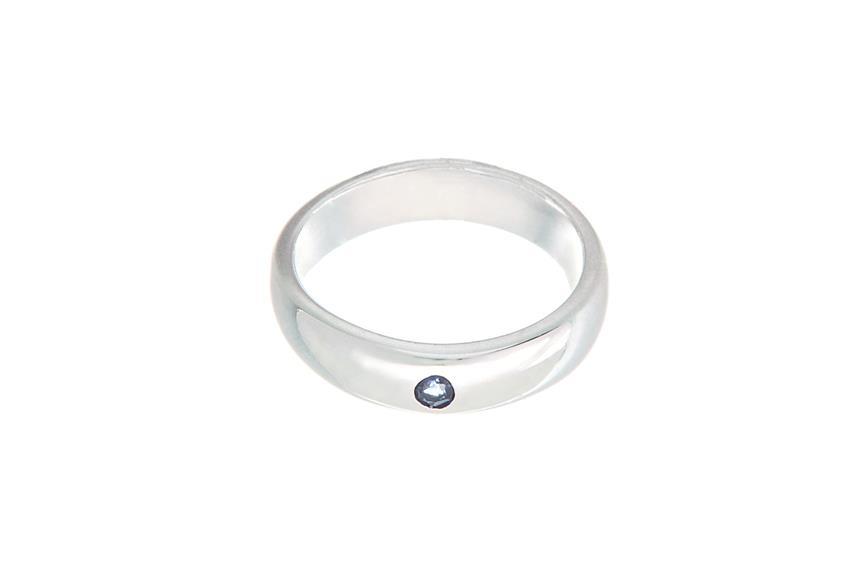 Taufring mit blauem Stein - 925 Silber